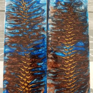 Stingray Blue Copper Pine Cone Exotic Knife Handles P1